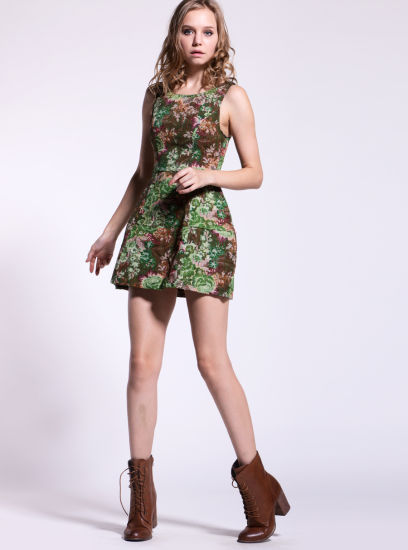 b38f8049be China Sleeveless Print A Line Linen Dress for Lady - China Dress ...