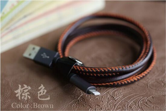 2016 Newest Cortex Sewing Pure Leather USB Cable pictures & photos