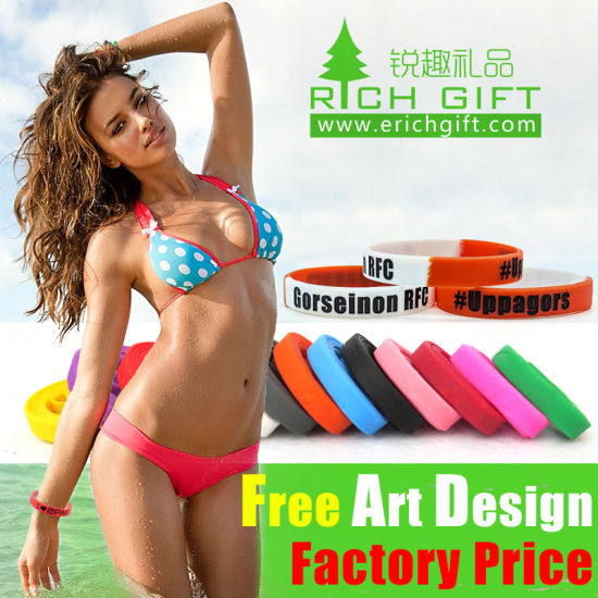 Free Sample Custom Debossed/Embossed/Printing Silicone Bracelet pictures & photos