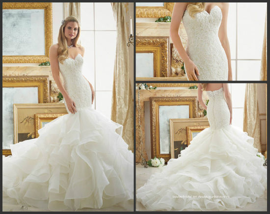 China Lace Puffy Bridal Gown Strapless Tiered Mermaid Wedding Dress ...