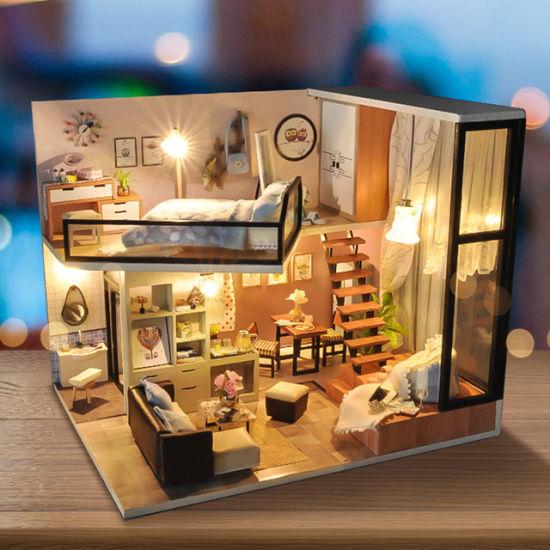 Doll House Miniature DIY Kit Dolls Toy House W// Furniture LED Light Box Gift Toy