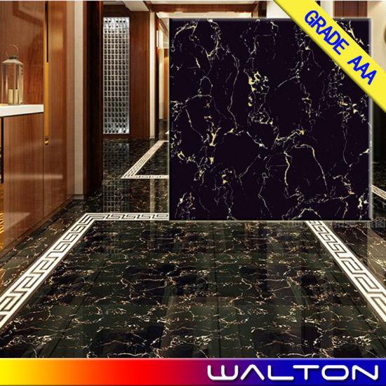 China Black Colour Full Polished Glazed Porcelain Ceramic Floor