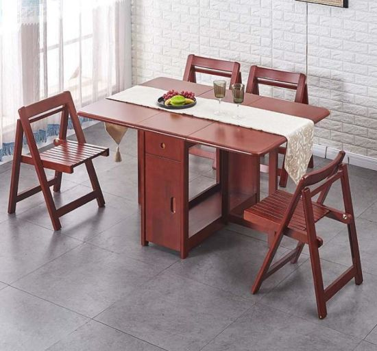 Extendable Wood Folding Dining Room, Wood Folding Dining Room Table And Chairs
