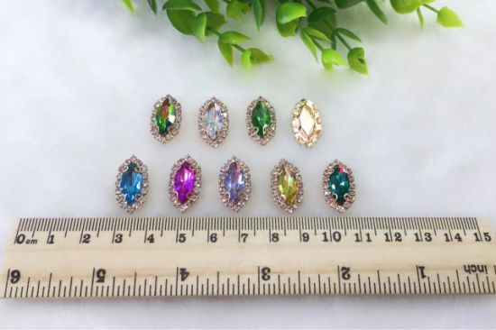 Glass Crystal Stones with Cup Chain Claws Rhinestones Embellishment for Garment Accessories