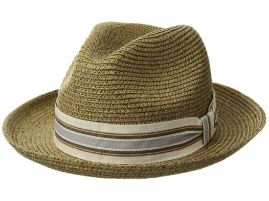 bfeee3d4 China Dent Crown Straw Cowboy Hat with Ribbon Striped Pattern ...