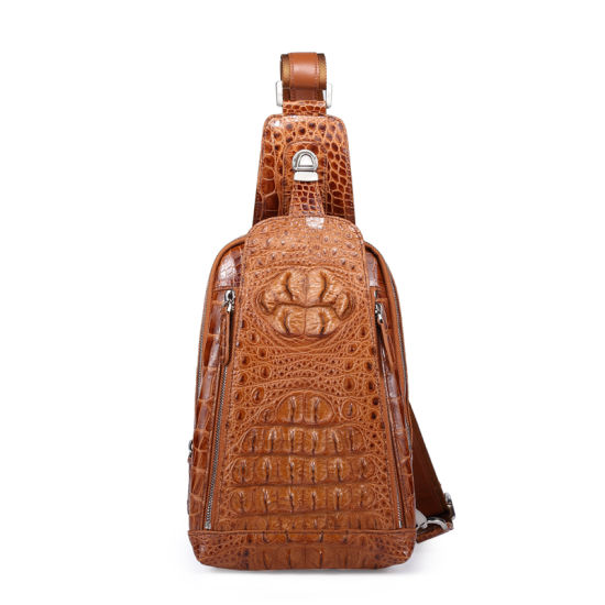 Custom Men Chest Bag Leather Backpack Genuine Crocodile Sling Bag