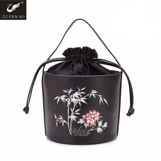 a3a6f68a3e Vogue Chinese Style High Quality Genuine Leather Ladies Bucket Handbags