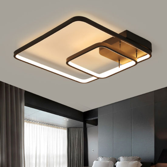 Living Room Square Aluminium Decorative Led Ceiling Lamp Light With Pvc Shade Very Por Fashion For Bedroom
