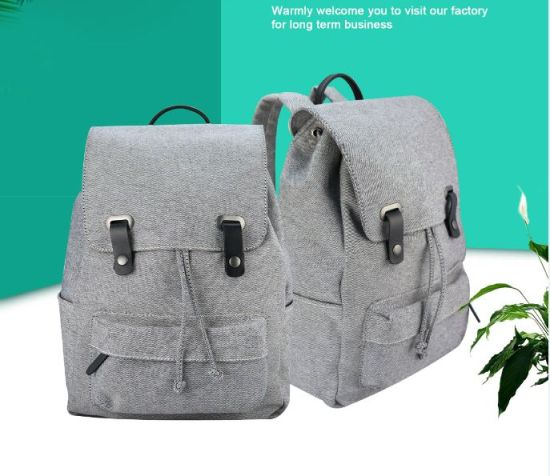 High-End Gray Color Jeans Backpack with PU Handles for Students pictures & photos