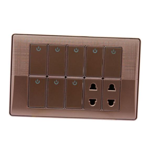 Golden Plate 8+2 Pakistan Type Electrical Wall Switch Socket