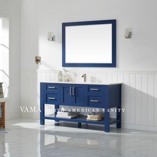 Vama 60 Inch European Solid Wood Blue, Blue Bathroom Vanity Cabinet