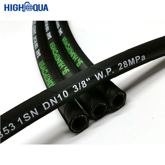 Black Hemp Rubber High Pressure Hydraulic Hose 1sn / R1at Used in Industry with Inner Rubber Nitrile
