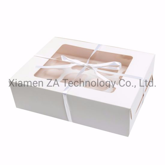 Wholesale Packaging Cake Box Cupcake Packaging Paper Box with Ribbon pictures & photos