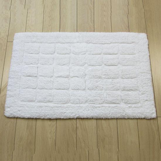 Super 100% Cotton Water Absorbent Non-Slip Thick Bathroom White Bath Rug