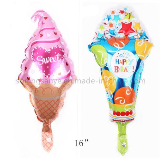 Dto0217 Ice Cream Cone Shape Custom Party Decoration Cute Helium Foil Balloons