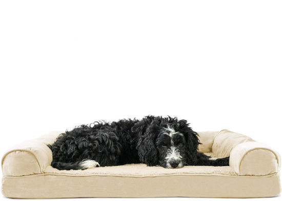 Pet Dog Bed Orthopedic Plush Faux Fur & Suede Sofa-Style Pet Bed