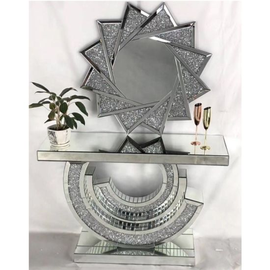 New Design Crushed Diamond Mirrored Console Table