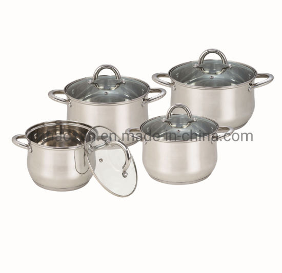 Stainless Steel #201 Kitchen Cooking Pots 8PCS Set