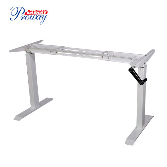Hand Crank Height Adjustable Standing Office Desk with Recoverable Handle