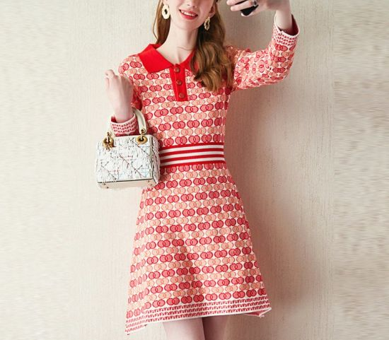 Fashion Ladies Polo Shirt Collar Sports Wear Knitting Stripe Dress Apparel