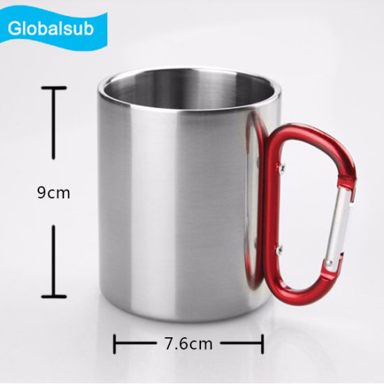 250/300/450ml Stainless Steel Mug Sublimation Mug with Carabiner pictures & photos