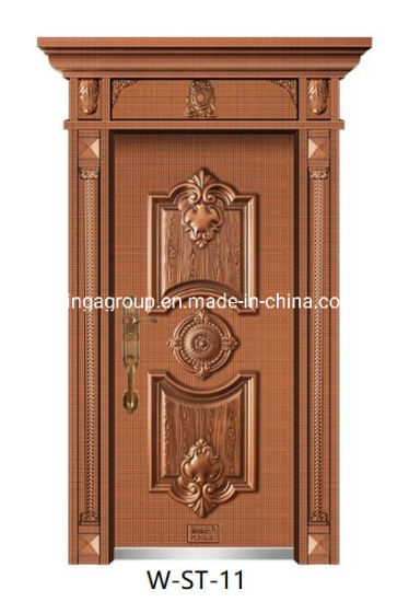 Lighter Luxury Exterior Security Metal Steel Alloy Copper Door W-St-11 pictures & photos