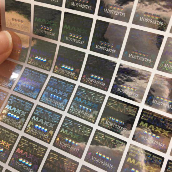 Customized Laser Marking Hologram Adhesive Sticker Metal Label Printing