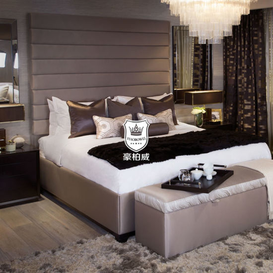 China Italy Luxury Hotel Furniture For Bedroom With High Headboard