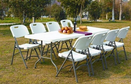 China White Outdoor Plastic Folding Chair Garden Furniture HDPE ...