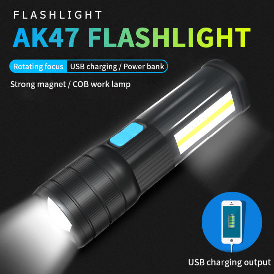 Factory Wholesale New USB Charging COB Multifunction Glare Super Bright Ak47 LED Flashlight