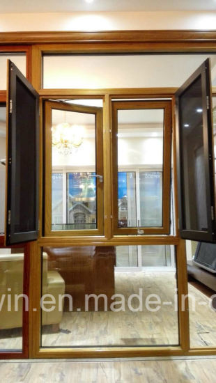 Woodwin Main Product Double Tempered Glass Wood and Aluminum Window pictures & photos