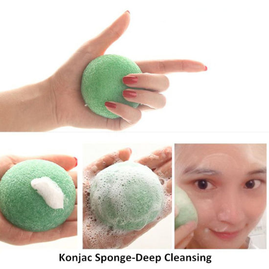 Wholesale Organic Body Bamboo Charcoal Cleaning Konjac Sponge pictures & photos