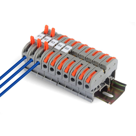 China Pct-211b Spring DIN Rail Terminal Block with Bridging Adaptor  0.08~4.0mm2 - China Wire Terminal Block, DIN Rail Connector