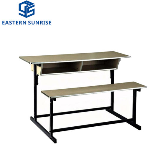 New Design School Furniture Wooden Double Student Desk and Chair