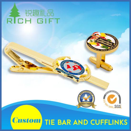 Wholesale Custom Fashion Metal/Brass/Enamel/Silver Cufflinks and Tie Pin Set for Men Shirts