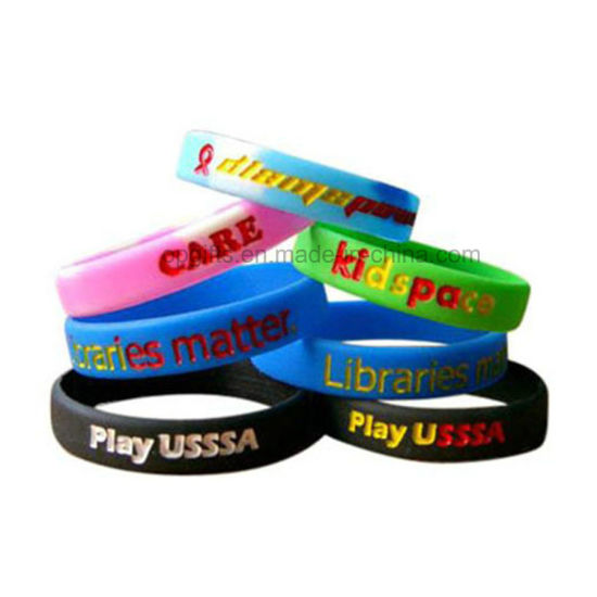 Promotional Gifts Custom Printed Deboss, Emboss Glow in Dark Silicone Wristband/Bracelet