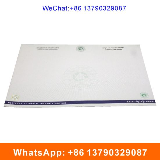 Watermark UV Fiber Anti-Counterfeiting Certificates pictures & photos