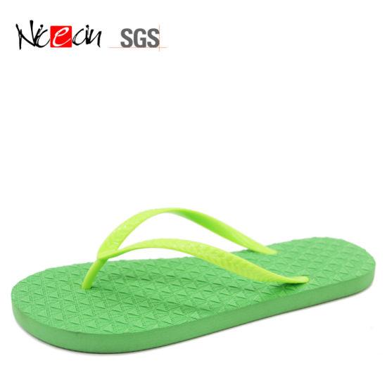 7b1fff535882 China Summer Green Beach Outdoor OEM Logo Flip Flop - China ...