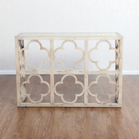 Delicieux Antique Furniture Mirrored Distressed Quatrefoil White Washed Console Table