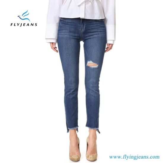 China Hot Sale High Waist Navy Blue Denim Ladies Skinny Jeans