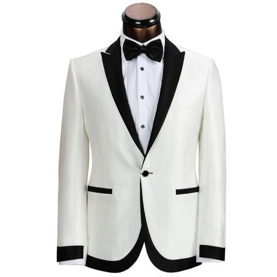Latest Design White Slim Fit Tuxedo Men Suit