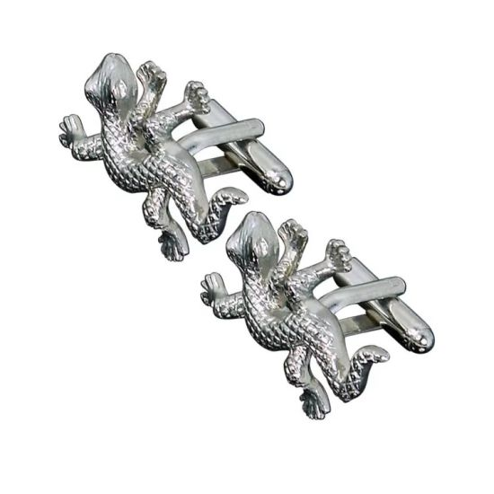 Silver Gold Gecko Suit Lapel Pin Jewelry Cufflink for Men