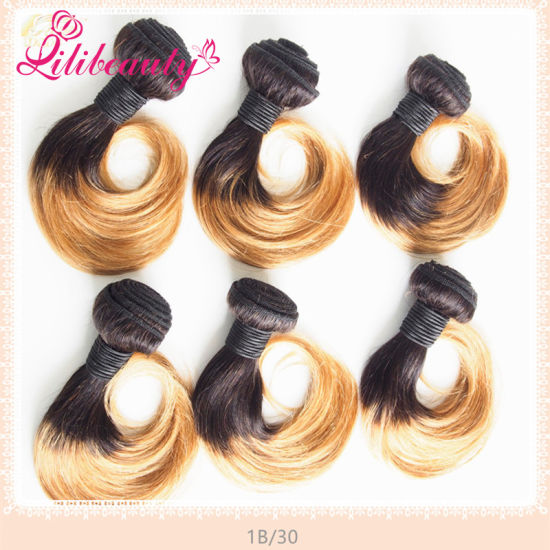 "10"" Two Tones Ombre Malaysian Human Hair Weft Fashion Ombre Hair pictures & photos"