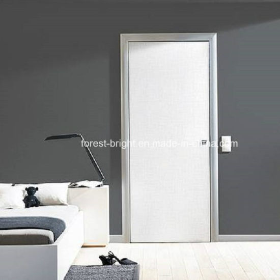 China White Painted Flush Wood Door with Black Door Frame - China ...
