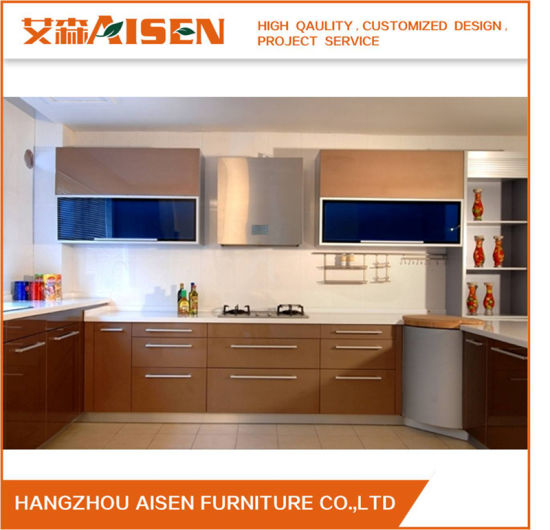 2018 Brown High Gloss Lacquer Finish Kitchen Cabinet Furniture