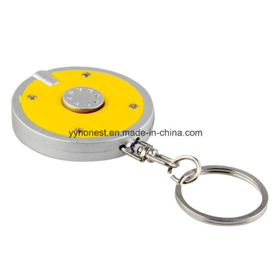 Factory Promotional Round Shape Plastic LED Light Keychain pictures & photos