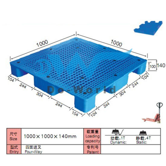 9 Legs Plastic Pallet in Size L1000*W1000*H140mm pictures & photos