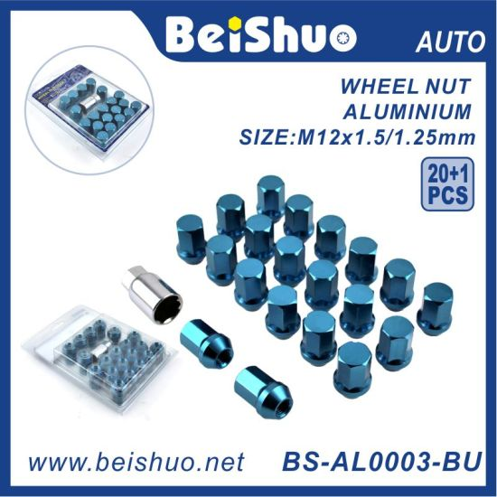 20+1PCS Hex Wheel Nut with Anodized Blue Surface