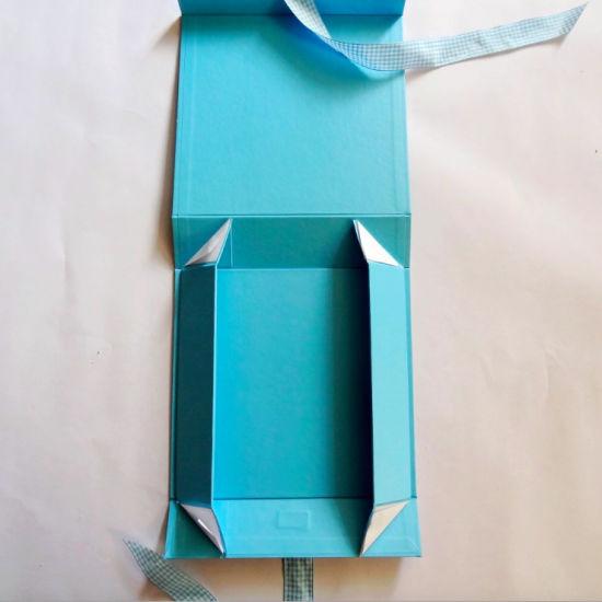 China Baby Blue Folding Paper Gift Box With Ribbon China Folding