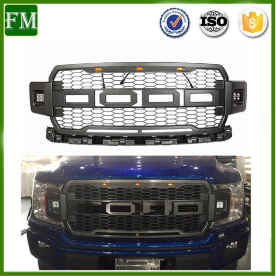 2018-2019 F-150 Raptor Style Front Grille Grill W/ 2 Side LED